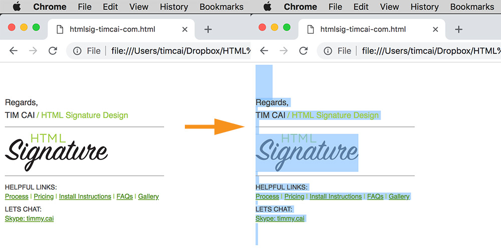How to install a html email signature for gmail - Step 1