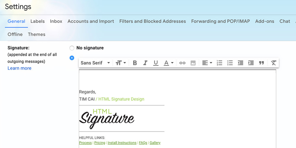 How to install a html email signature for gmail - Step 3