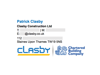 Image on the Bottom: Clasby Constructions