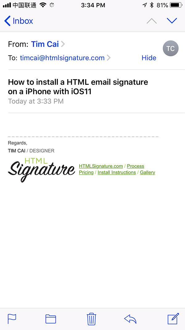 Install HTML email signature on iOS 11 - Step 3