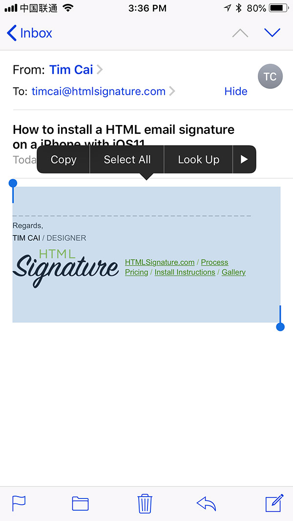 Install HTML email signature on iOS 11 - Step 4