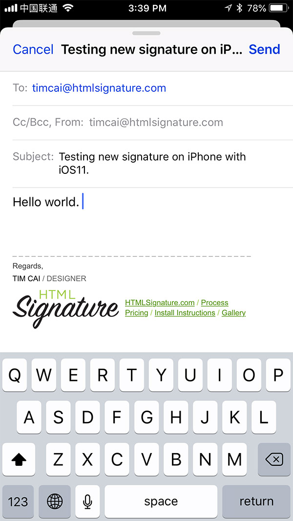 Install HTML email signature on iOS 11 - Step 9