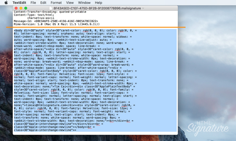 Install HTML email signature in Apple Mail on macOS High Sierra - 08